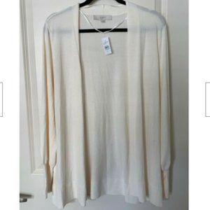LOFT White XL Cardigan Sweater NWT